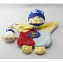 Doudou et compagnie marionnette canard bleu jaune bouée