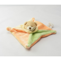 Doudou plat ourson vert orange jaune BABY NAT