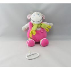 Doudou musical vache rose gris poussin foulard vert NICOTOY