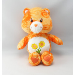 Peluche Bisounours orange clair Groscopain fleurs CARE BEARS