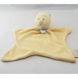 Doudou plat ours jaune foulard bleu abeille NOUKIE'S