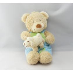 Doudou ours bleu vert tracteur TEX BABY