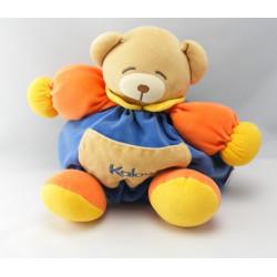 Doudou ours boule patapouf bleu jaune rouge col vert KALOO