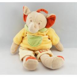 Doudou musical éléphant marron rouge JOLLYBABY