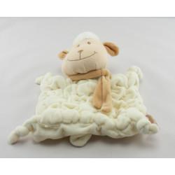 Doudou Mouton blanc et marron avec écharpe Tiamo