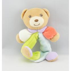 Attache tétine doudou ours rouge bleu vert KALOO