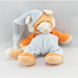 Doudou chat renard orange jaune avec bonnet AUCHAN