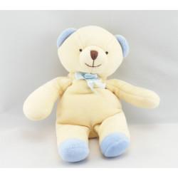 Doudou ours jaune écharpe bleu COMPTINE