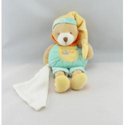 Doudou ours mouchoir bleu jaune orange BABY NAT
