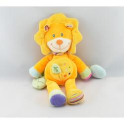 Doudou lion jaune orange feuille verte POMMETTE