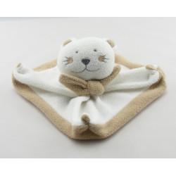 Doudou plat ours chat bleu et blanc avec écharpe