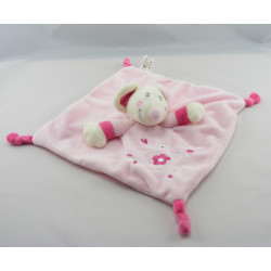 Doudou plat souris rose fleurs brodées VETIR