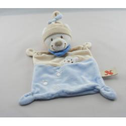 Doudou ours blanc bleu beige bonnet beige empreintes NICOTOY