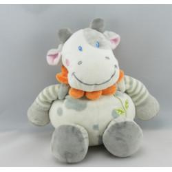 Doudou plat vache blanche taches grises col fleur NICOTOY