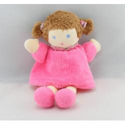 Doudou poupée fille robe rose NOUNOURS