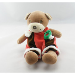 Doudou plat fleur pétale ours marron blanc rouge TAKINOU