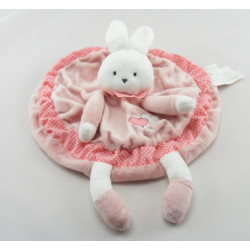 Doudou plat rond rose cheval ane coeur KIMBALOO