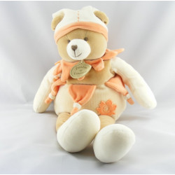 Doudou et compagnie ours arlequin douvelours beige orange mouchoir