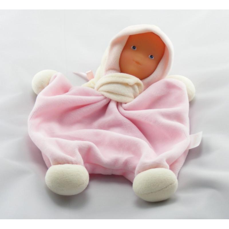Doudou plat poupée baby Corolle rose blanc