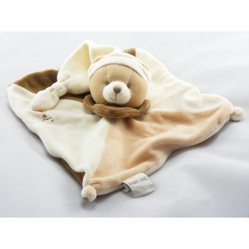 Doudou plat ours écru blanc marron BABY NAT