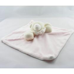Doudou plat ours rose blanc JACADI