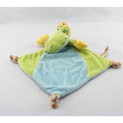 Doudou plat crocodile vert bleu NICOTOY