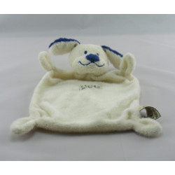 Doudou plat Chien bleu et blanc Nicotoy The Baby Collection