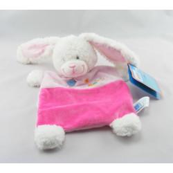 Doudou plat lapin rose foulard vert oiseau TEX NEUF