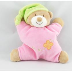 Doudou semi plat ours rose bonnet vert coeur NATTOU