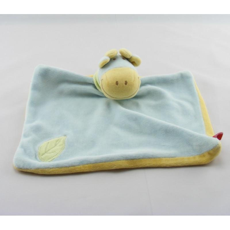 Doudou plat Vache bleu jaune foulard vert Tex