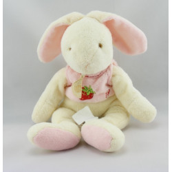 Doudou lapin blanc rouge pomme A BABY NAT