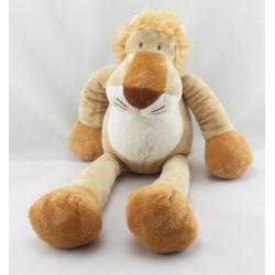 Doudou Lion marron et blanc grande taille Nicotoy