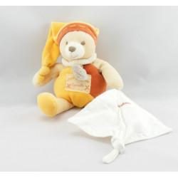 Doudou et compagnie ours orange mouchoir cannelle Mon doudou