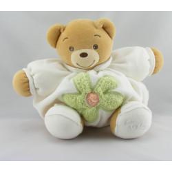 Doudou ours boule patapouf blanc fleur verte KALOO