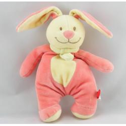Doudou lapin rose foulard vert TEX  30 cm