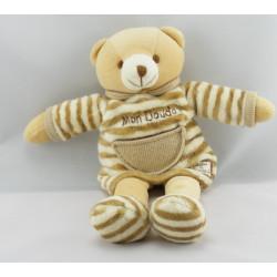 Doudou Ours beige en tenue et bonnet blanc Doudou et Compagnie