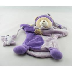 Doudou et compagnie marionnette ours Pirouette mauve violet papillon