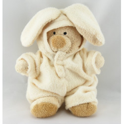 Doudou ours déguisé en lapin ecru NICOTOY
