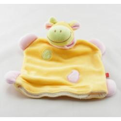 Doudou plat vache girafe jaune rose TEX LOT DE 2