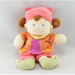 Doudou musical lutin fille arlequin rose orange NICOTOY