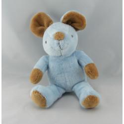 Doudou souris bleu écharpe rayé GRAINE D'EVEIL