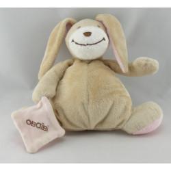 Doudou lapin beige marron avec mouchoir OBAIBI