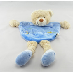 Doudou plat bleu ours avec train brodé TEX