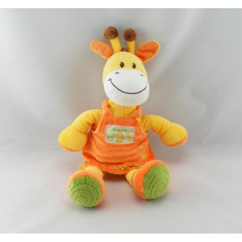 Doudou girafe jaune robe orange Ma ptite tribu