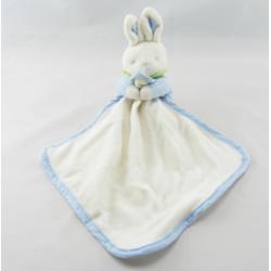 Doudou lapin bleu vert et son mouchoir Klorane