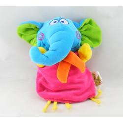 Doudou marionnette éléphant bleu rose jaune vert DUPUIS