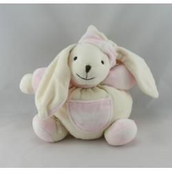 Doudou plat chien blanc rose coeur CMP