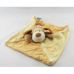 Doudou plat chien  jaune rayé coeur MOTS D'ENFANTS