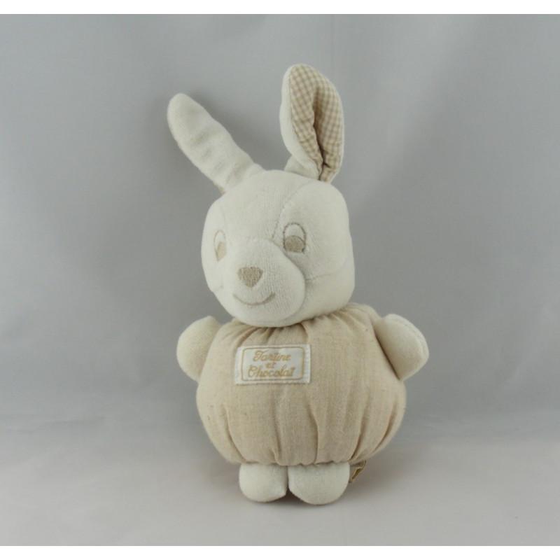 Doudou lapin boule beige TARTINE ET CHOCOLAT