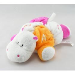 Doudou plat hippopotame rose vichy jaune noeuds TIGEX